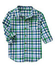 NWT Crazy 8 WINTER TRANS White Navy Green Woven PLAID L/S Button Front Shirt