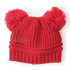 Fashion Dual Ball Cute Baby Kids Knitted Crochet Beanie Winter Hat Cap