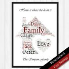 Family Gift Personalised Word Art Cloud. Print Keepsake Family Gift. PRINT ONLY