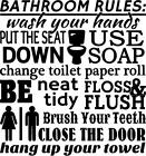 BATHROOM RULES SUBWAY ART VINYL WALL DECAL WALL LETTERS WALL DECOR