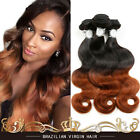 3 Bundles Brazilian Virgin Body wave Wavy Human Hair Extesions 150g #1B/30 Ombre