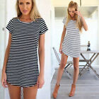 New Women Casual T-shirt Long Tops Sweatshirt Blouse Kaftan Beach Mini Dress Tee