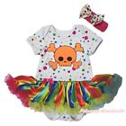Halloween Skull Dots Bodysuit Rainbow Striped Girls Baby Dress Outfit Set NB-18M