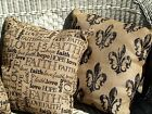 HANDMADE BURLAP PILLOWS-FLUER DE LIS, FAITH & FAMILY, WHITE LACE PATTERN