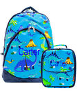 Personalized Dinosaur Blue School Bag Backpack / Lunch Box Set Monogram Name