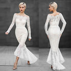 Women Bridesmaid Ball Prom Gown Formal Evening Party Cocktail Long Lace Dress