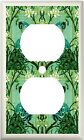 PEACOCK GREEN STAINED GLASS IMAGE LIGHT SWITCH COVER PLATE OR OUTLET V861