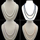 AA 7-8mm oval black white pink purple fresh water pearl fashion necklace s254