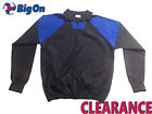 *CLEARANCE NEW* MENS 100% POLYCOTTON DRILL TRAINING TOP- BLACK/ROYAL - S, M , L