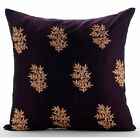 "Zardozi Ethnic Flower Purple Art Silk throw pillow covers 20""x20"" - Boudoir"