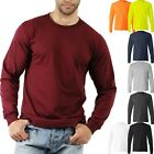 Mens LONG SLEEVE T Shirts Basic Plain Tee Crew Round Neck Cotton Classic Fitted image