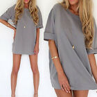 UK Womens Fashion Casual Loose Chiffon Tops Shirt Half Sleeve Short Dress Blouse