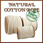 100% Pure Cotton Rope ☞ Natural Woven Cord Twine Sash ☞ 6mm - 12mm ☞ 1m - 100m