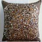 "Brown Art Silk 14""x14"" Sequins Throw Pillows Cover - Brown Eye Sparkle"