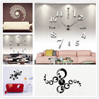 Modern DIY Small/ Large Number Wall Clock 3D Mirror Surface Sticker Home Decor