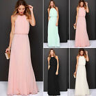 Women Long Chiffon Evening Formal Party Cocktail Dress Bridesmaid Prom Gown ABCA