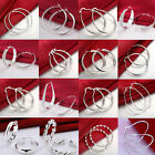 Hot Sale Fashion 925 Sterling Silver Round Women's Hoop Dangle Earrings Jewelry