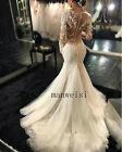 Plus White Ivory Bridal Gowns Mermaid Wedding Dresses Lace Appliques Custom Made