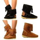 Indian Bottes Cuir Vintage Franges MADE IN ITALY Cuissardes Squaw Boots G96