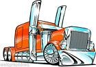 Peterbilt Big Rig Semi Truck Cartoon 3 Sizes Decal Wall Graphic Man Cave Decor