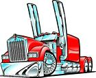 Kenworth Big Rig Semi Truck Cartoon 3 Sizes Decal Wall Graphic Man Cave Decor