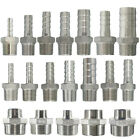 Male Thread Pipe Fitting x Barb Hose Tail Connector Stainless Steel BSP UK