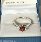 UK Sterling Silver created Ruby Diamonds Engagement style Ring Sizes K+1/2 or L