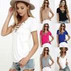 Plus Size Women's Summer V Neck Short Sleeve Shirt Loose Casual Blouse Tops New