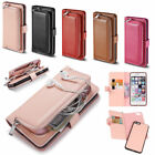 Multi Function Leather Wallet Pocket Zipper Flip Case Cover for iPhone Samsung