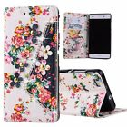 Vintage Diamond Print Flower Leather Wallet Cover Case For Huawei Ascend P8 P9