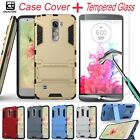 Hybrid Armor Case Cover + Tempered Glass Film Screen Protector For LG Phone