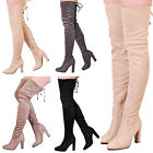 Womens Thigh High Over The Knee Block Heel Faux Suede Tie Back Extra Long Boots