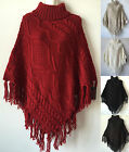 Women Cable Knit Top Cardigan Poncho Batwing style Cape Sweater Coat Outwear 475