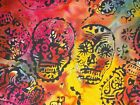 Skull Batik Tonga Quilt Fabric Timeless Treasures Quilting Sewing FQ, BTHY, BTY