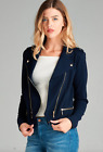 NEW Fitted Double Zip Moto Jacket Cropped Stretch Knit- XS/S-M-L