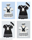 Newborn Infant Toddler Girl Navy White sailor nautical dress costume