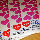"""91 x 1"""" LOVE HEART VINYL STICKERS - HOME & GIFT DECORATION"""