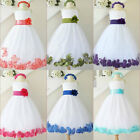 Gorgeous White royal pool purple pink tulle rose petals flower girl party dress