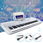 61 Key Music Electronic Keyboard Digital Piano Organ w/Microphone Silver