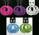 Pink Purple White Blue Green Carve Wood Style Fashion Craft Pendant Hook Earring