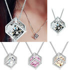 925 Sterling Silver Women Men Crystal Diamond Necklace Pendant Square Style