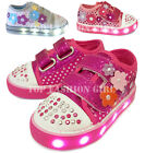 Внешний вид - Light Up Girls Baby Toddler Glitter Strap Canvas Sneaker Tennis Shoe Pink Purple