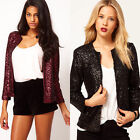 SEQUINS Fashion Women's Suit Tops Jacket Evening Blazer Slim Formal Coat Outwear
