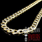 """NEW 10K TWO TONE PAVE SOLID MEN'S WOMENS CUBAN LINK CHAIN NECKLACE 4.5MM 16""""~26"""""""