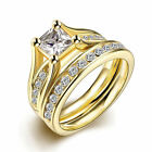 18K Yellow Gold Over Stainless Steel Wedding Engagement Ring Set Sizes 6-9