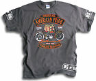 Biker US-66 American Pride Timeless Tradition Mens Charcoal T Shirt Sm-2XL
