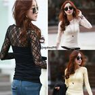 Fashion Womens Lace Splicing Casual Slim Sheer Long Sleeve T-Shirt Blouse OO55