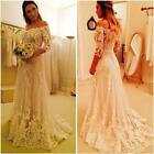Wedding Dresses Bridal Gowns 3/4 Sleeve Off Shoulder White Lace Applique Tulle