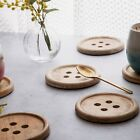 SET OF 6 WOOD BUTTON ROUND SHAPE DRINKS COASTERS COFFEE TABLE BY SASS & BELLE