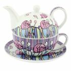 Tea Set For One Tea Pot & Cup Saucer Gift Box Modern Mackintosh By Leonardo